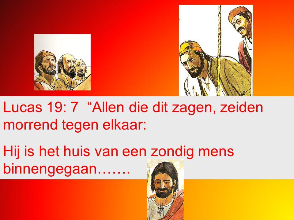Lucas 19: 7 Allen die dit zagen, zeiden morrend tegen elkaar: