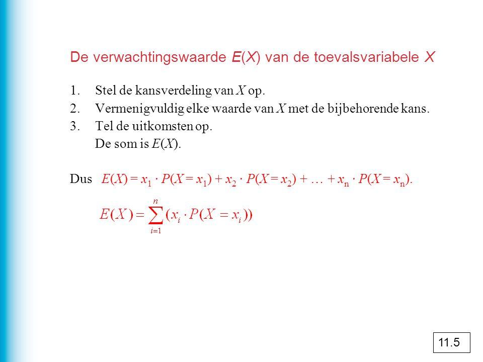 De verwachtingswaarde E(X) van de toevalsvariabele X