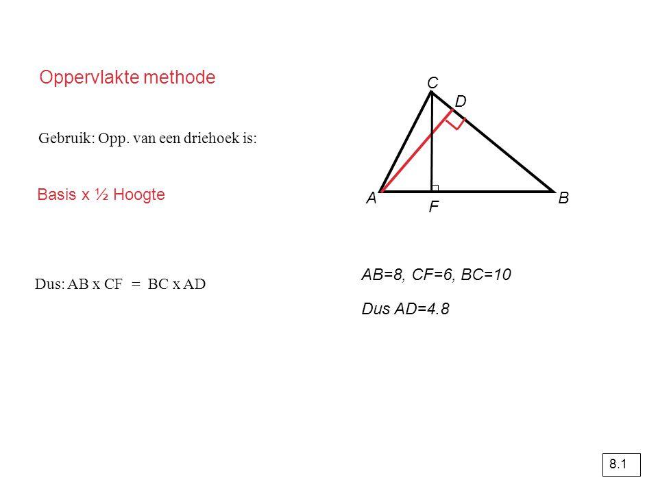 Oppervlakte methode C D Basis x ½ Hoogte A B F AB=8, CF=6, BC=10
