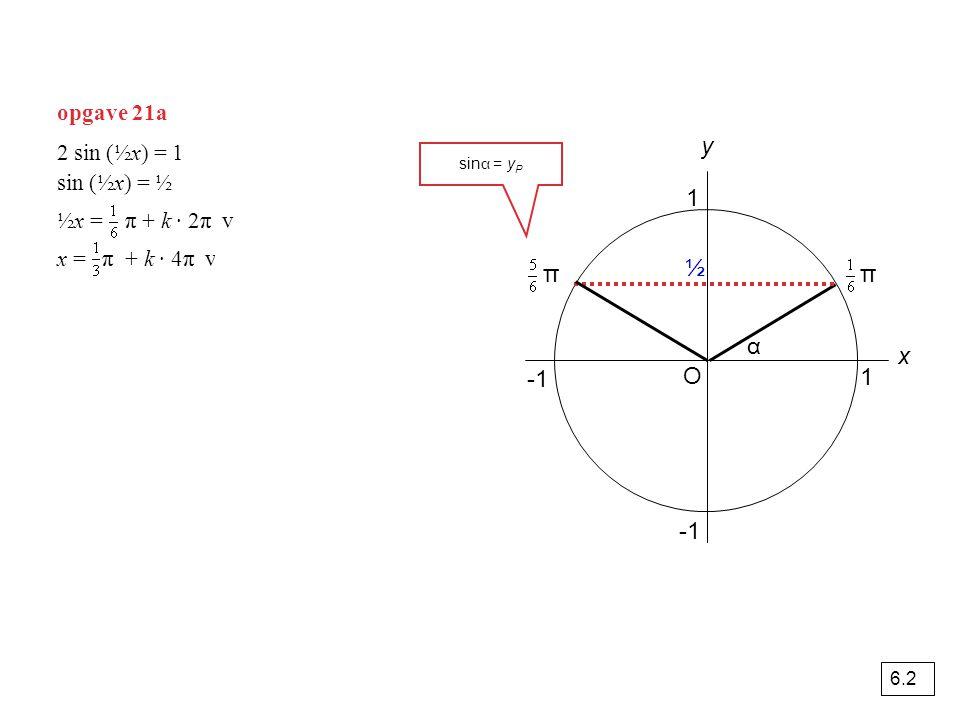 y 1 ½ π π α x -1 O 1 -1 opgave 21a 2 sin (½x) = 1 sin (½x) = ½