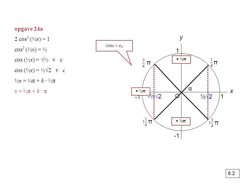 y 1 π π α x -1 -½√2 O ½√2 1 π π -1 opgave 24a 2 cos2 (½x) = 1