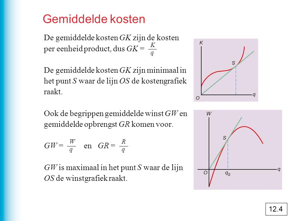 Gemiddelde kosten De gemiddelde kosten GK zijn de kosten per eenheid product, dus GK =