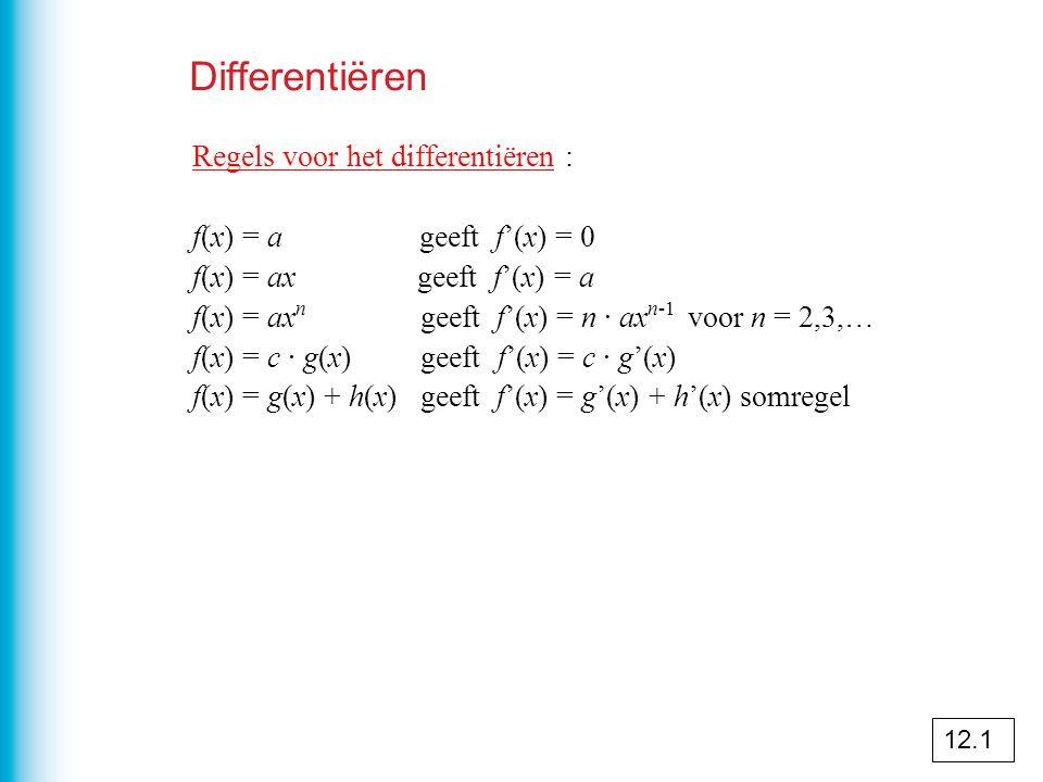 Differentiëren Regels voor het differentiëren :
