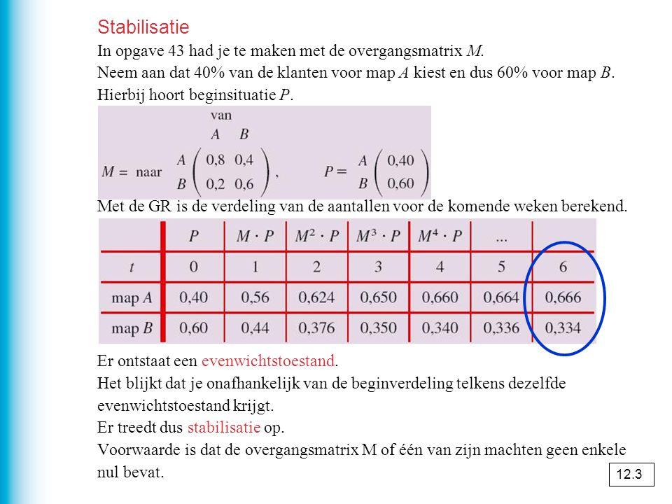 Stabilisatie In opgave 43 had je te maken met de overgangsmatrix M.