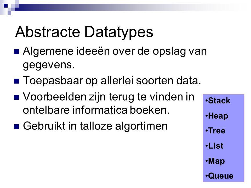 Abstracte Datatypes Algemene ideeën over de opslag van gegevens.