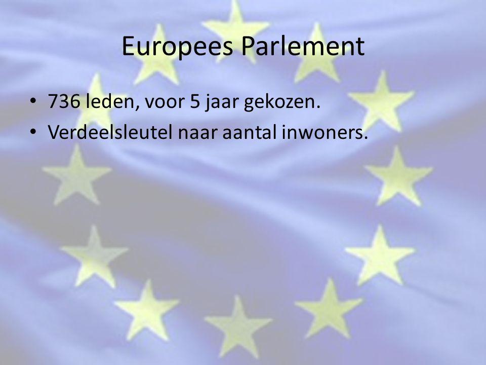 Europees Parlement 736 leden, voor 5 jaar gekozen.