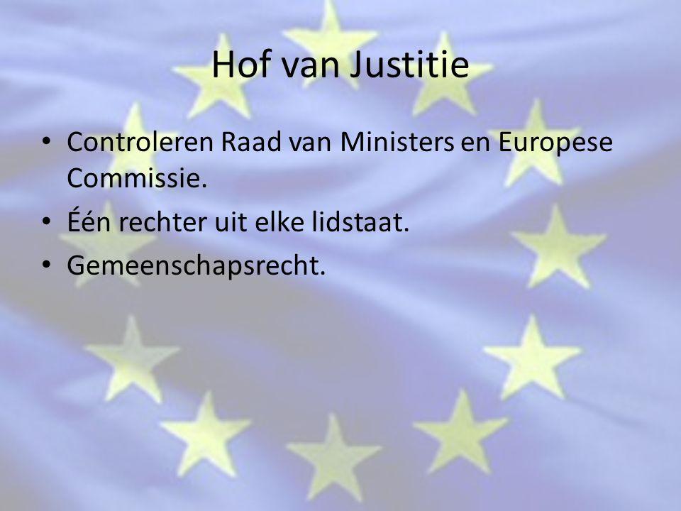 Hof van Justitie Controleren Raad van Ministers en Europese Commissie.