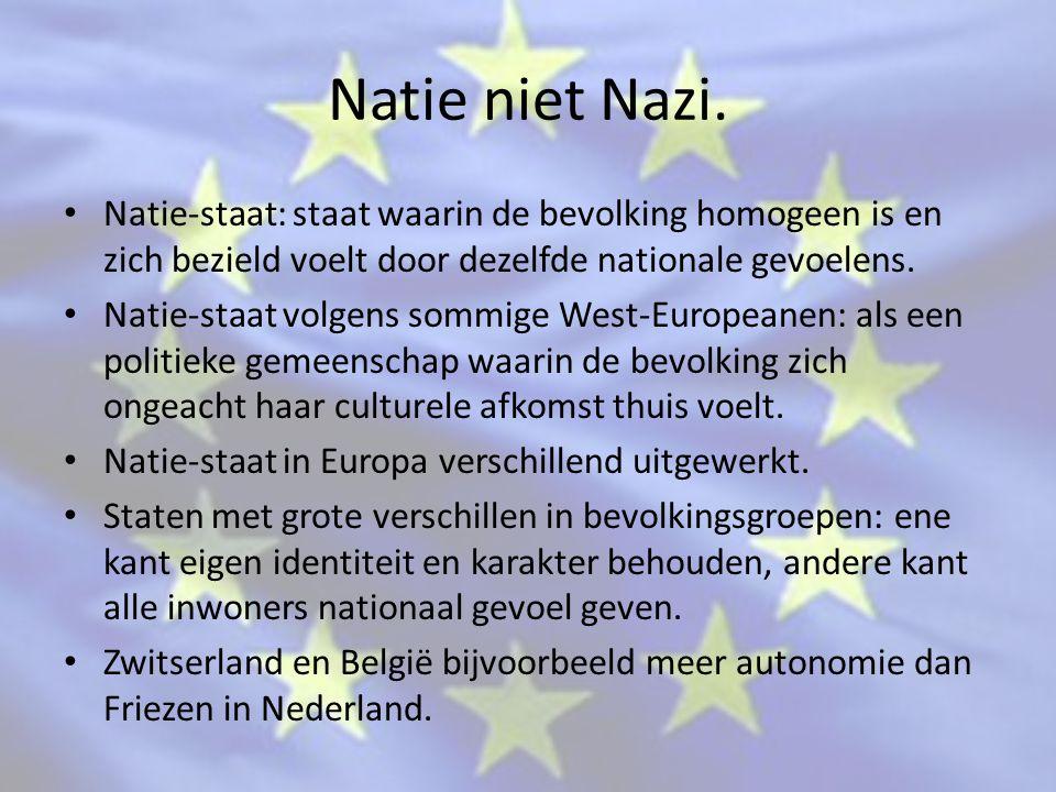 Natie niet Nazi. Natie-staat: staat waarin de bevolking homogeen is en zich bezield voelt door dezelfde nationale gevoelens.