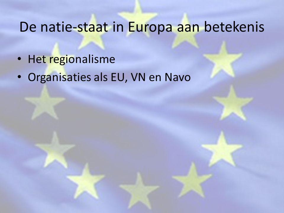 De natie-staat in Europa aan betekenis