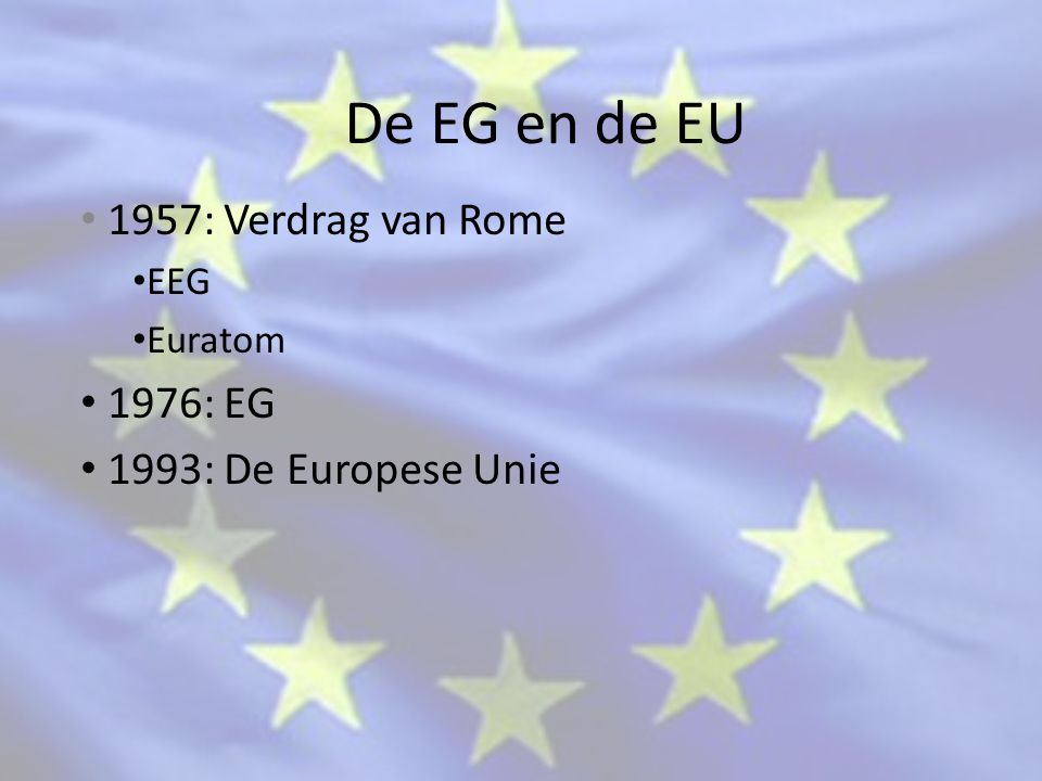 1957: Verdrag van Rome EEG Euratom 1976: EG 1993: De Europese Unie