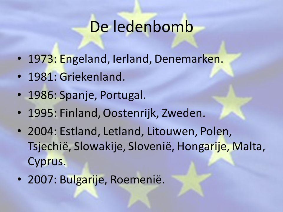 De ledenbomb 1973: Engeland, Ierland, Denemarken. 1981: Griekenland.