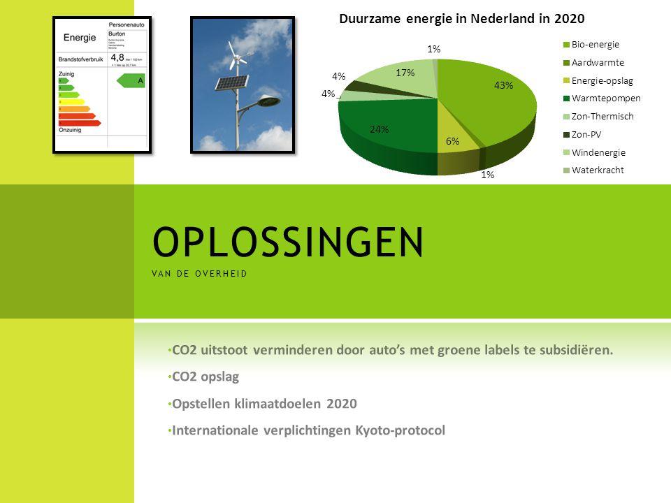 OPLOSSINGEN van de overheid. CO2 uitstoot verminderen door auto's met groene labels te subsidiëren.