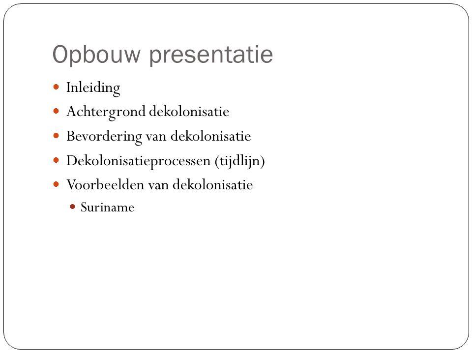 Opbouw presentatie Inleiding Achtergrond dekolonisatie