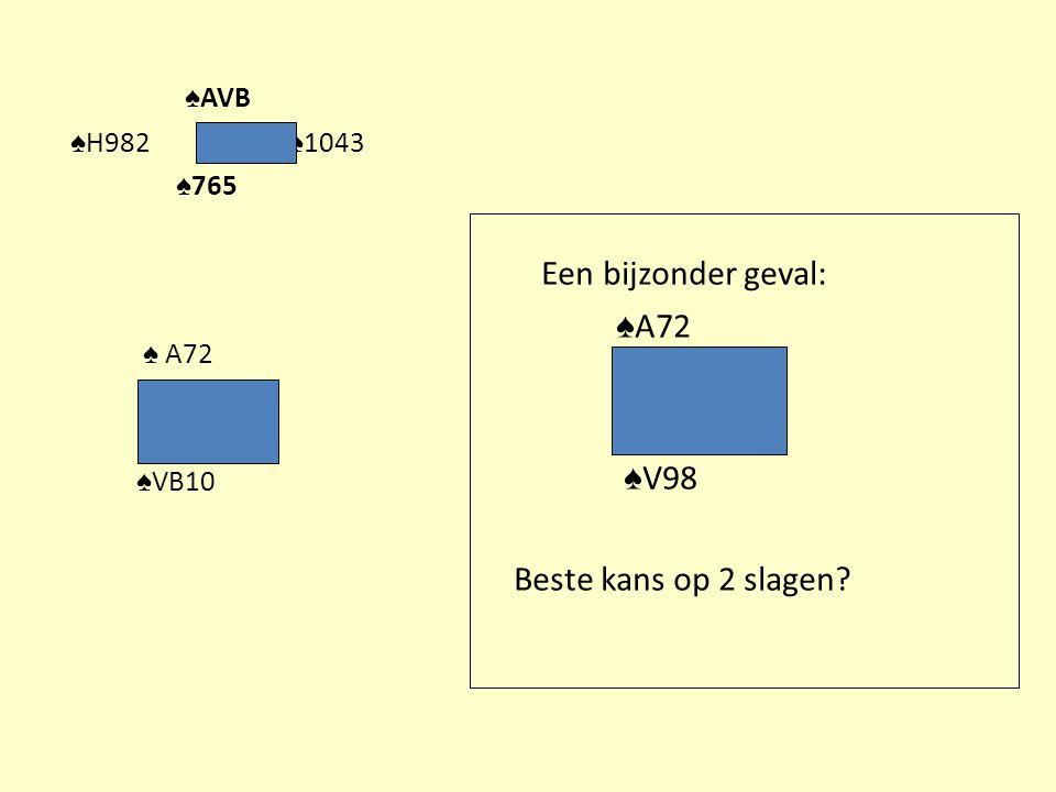 ♠AVB Een bijzonder geval: ♠A72 ♠V98 Beste kans op 2 slagen
