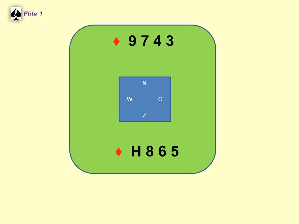 ♦ 9 7 4 3 Flits 1 N W O Z ♦ H 8 6 5