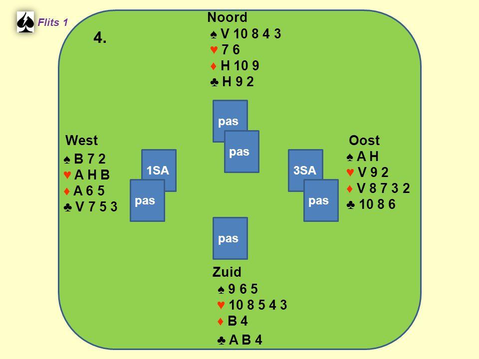 West Noord 4. Zuid ♠ V 10 8 4 3 ♥ 7 6 ♦ H 10 9 ♣ H 9 2 ♠ A H ♠ B 7 2