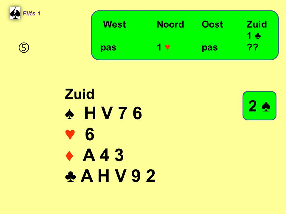 ♠ H V 7 6 ♥ 6 ♦ A 4 3 ♣ A H V 9 2 2 ♠  Zuid West Noord Oost Zuid