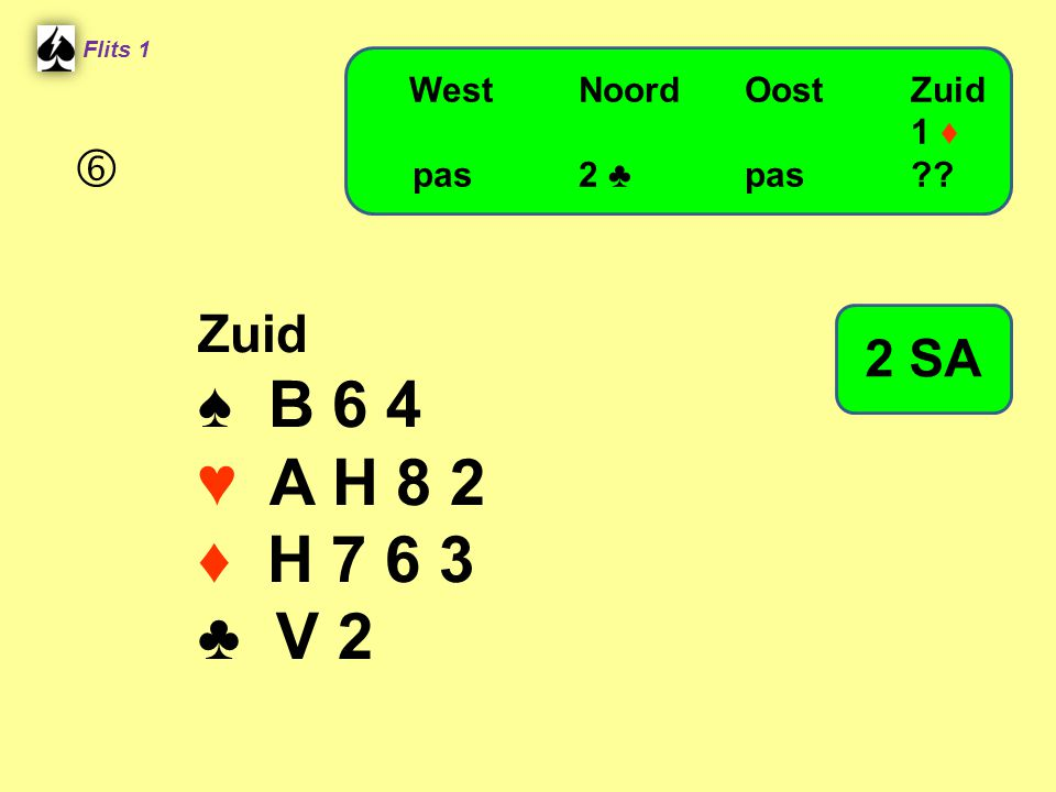 ♠ B 6 4 ♥ A H 8 2 ♦ H 7 6 3 ♣ V 2  Zuid 2 SA West Noord Oost Zuid