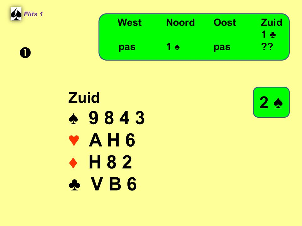 ♠ 9 8 4 3 ♥ A H 6 ♦ H 8 2 ♣ V B 6 2 ♠  Zuid West Noord Oost Zuid