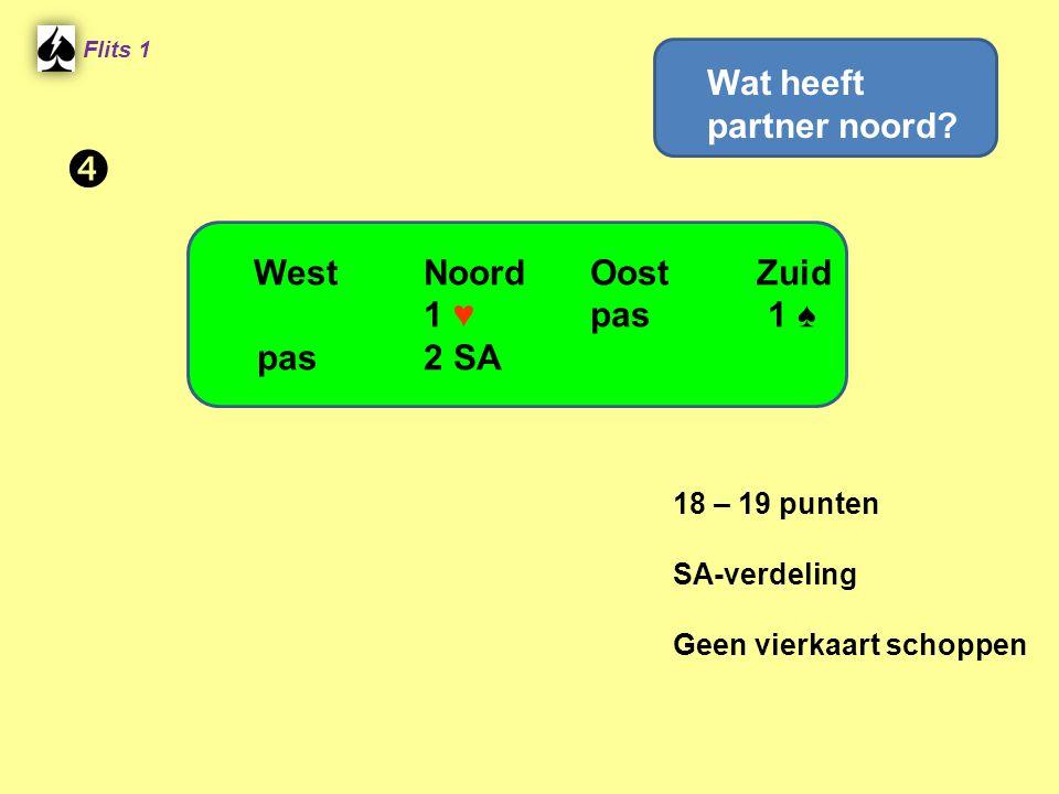  Wat heeft partner noord West Noord Oost Zuid 1 ♥ pas 1 ♠ pas 2 SA