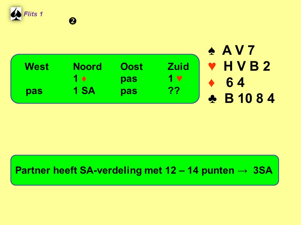 ♠ A V 7 ♥ H V B 2 ♦ 6 4 ♣ B 10 8 4  West Noord Oost Zuid