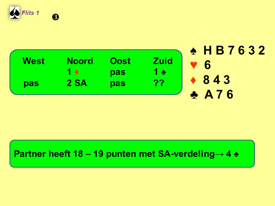 ♠ H B 7 6 3 2 ♥ 6 ♦ 8 4 3 ♣ A 7 6  West Noord Oost Zuid