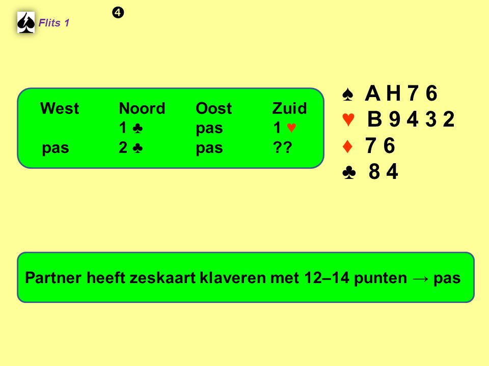 ♠ A H 7 6 ♥ B 9 4 3 2 ♦ 7 6 ♣ 8 4  West Noord Oost Zuid