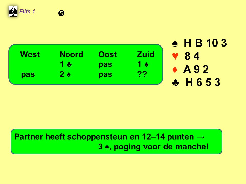 ♠ H B 10 3 ♥ 8 4 ♦ A 9 2 ♣ H 6 5 3  West Noord Oost Zuid