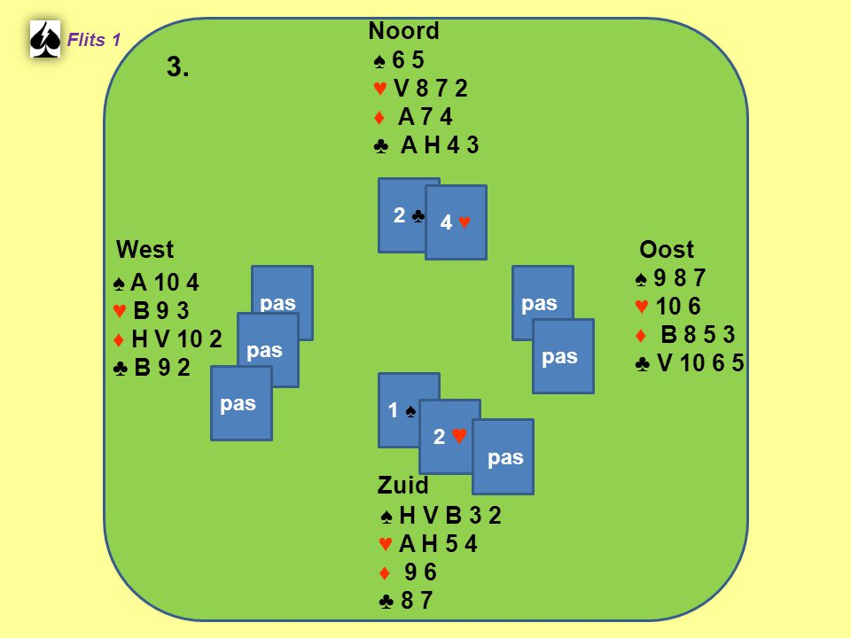 West Noord 3. Zuid ♠ 6 5 ♥ V ♦ A 7 4 ♣ A H 4 3 ♠ ♠ A 10 4