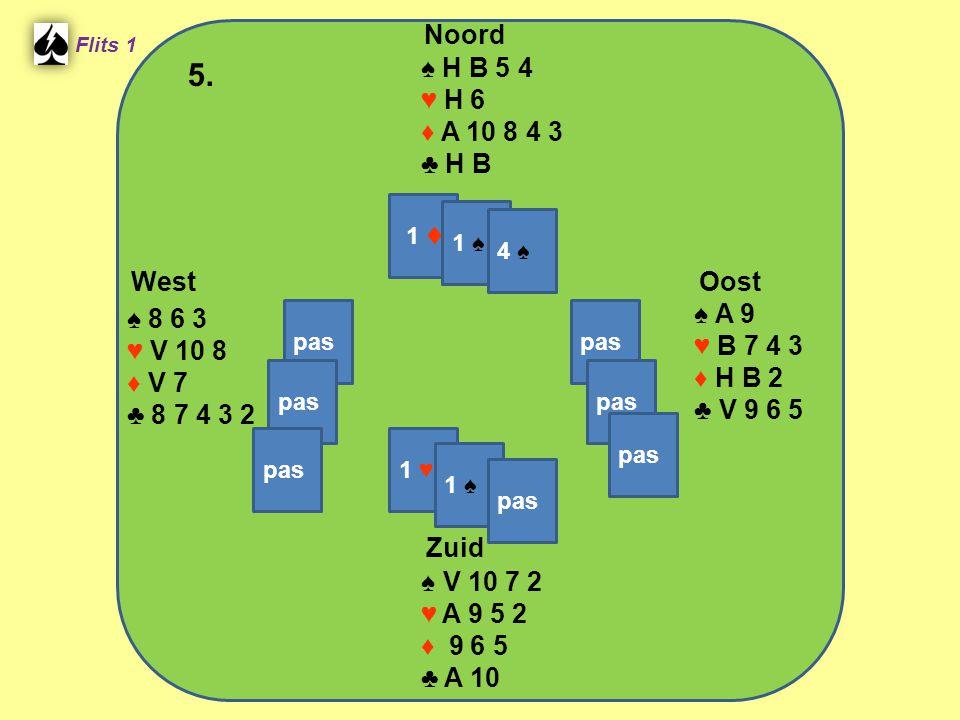 West Noord 5. Zuid ♠ H B 5 4 ♥ H 6 ♦ A 10 8 4 3 ♣ H B ♠ A 9 ♠ 8 6 3