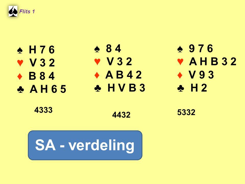 SA - verdeling ♠ H 7 6 ♥ V 3 2 ♦ B 8 4 ♣ A H 6 5 ♠ 8 4 ♥ V 3 2