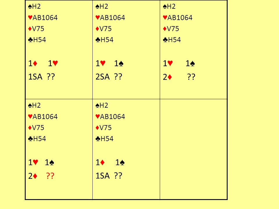 1♦ 1♥ 1SA 1♥ 1♠ 2SA 1♥ 1♠ 2♦ 1♥ 1♠ 2♦ 1♦ 1♠ ♠H2 ♥AB1064