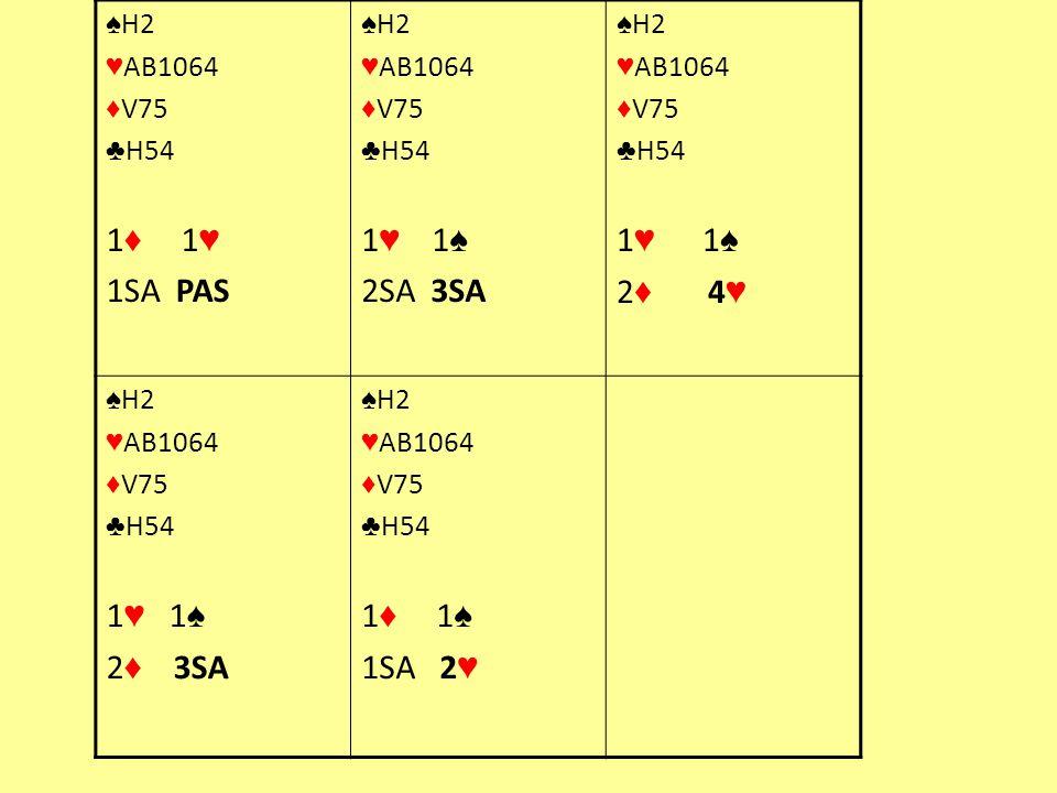 1♦ 1♥ 1SA PAS 1♥ 1♠ 2SA 3SA 1♥ 1♠ 2♦ 4♥ 1♥ 1♠ 2♦ 3SA 1♦ 1♠ 1SA 2♥ ♠H2