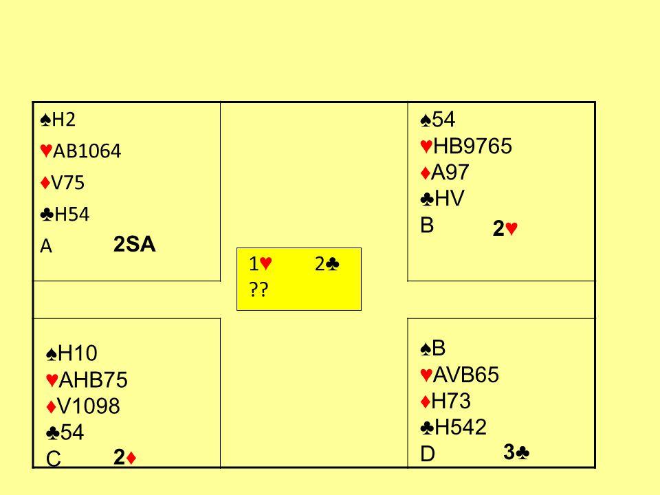 ♠H2 ♥AB1064. ♦V75. ♣H54. A. ♠54. ♥HB9765. ♦A97. ♣HV B. 2♥ 1♥ 2♣ 2SA. ♠B. ♥AVB65. ♦H73.