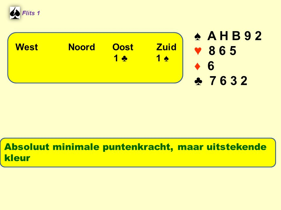 ♠ A H B 9 2 ♥ 8 6 5 ♦ 6 ♣ 7 6 3 2 West Noord Oost Zuid 1 ♣ 1 ♠