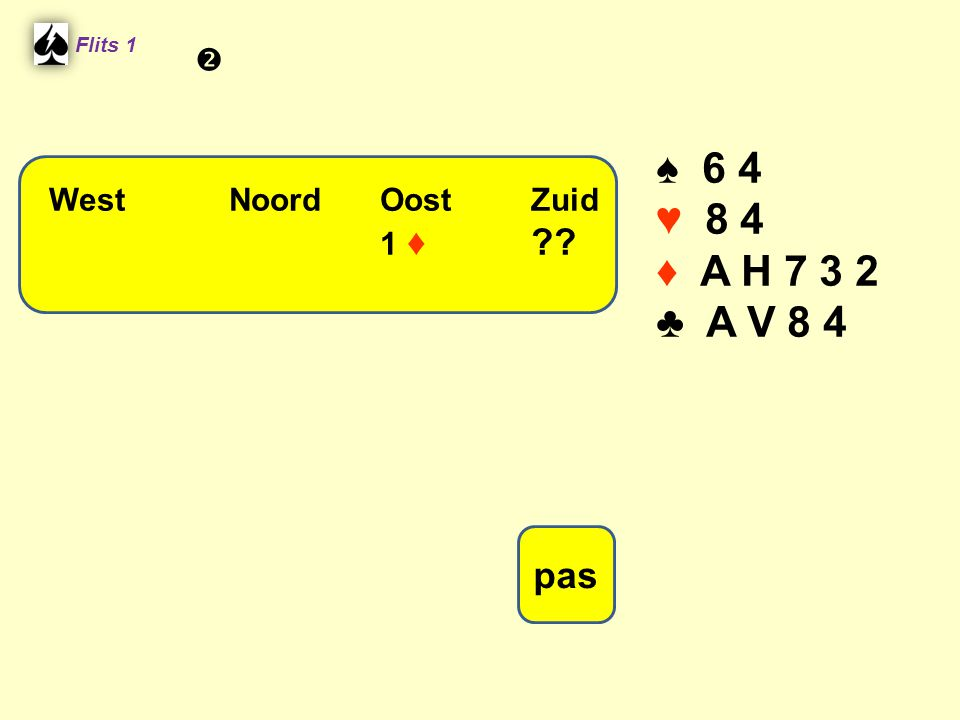 ♠ 6 4 ♥ 8 4 ♦ A H ♣ A V 8 4 pas  West Noord Oost Zuid 1 ♦