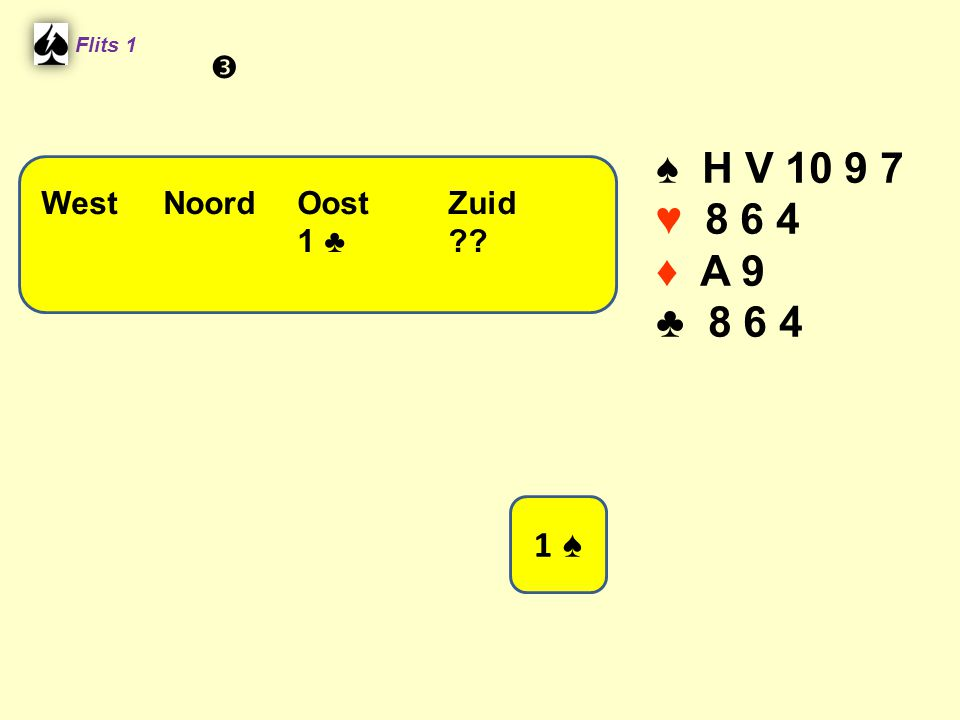 ♠ H V 10 9 7 ♥ 8 6 4 ♦ A 9 ♣ 8 6 4 1 ♠  West Noord Oost Zuid 1 ♣