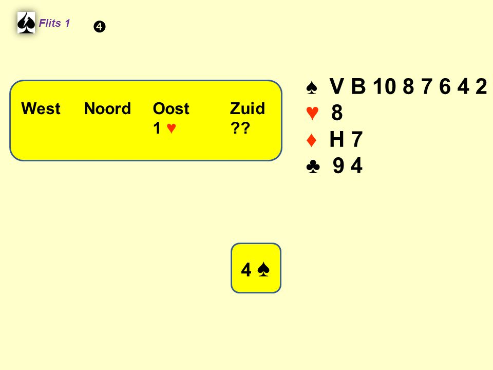 ♠ V B 10 8 7 6 4 2 ♥ 8 ♦ H 7 ♣ 9 4 4 ♠  West Noord Oost Zuid 1 ♥