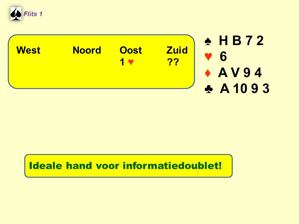 ♠ H B 7 2 ♥ 6 ♦ A V 9 4 ♣ A West Noord Oost Zuid 1 ♥