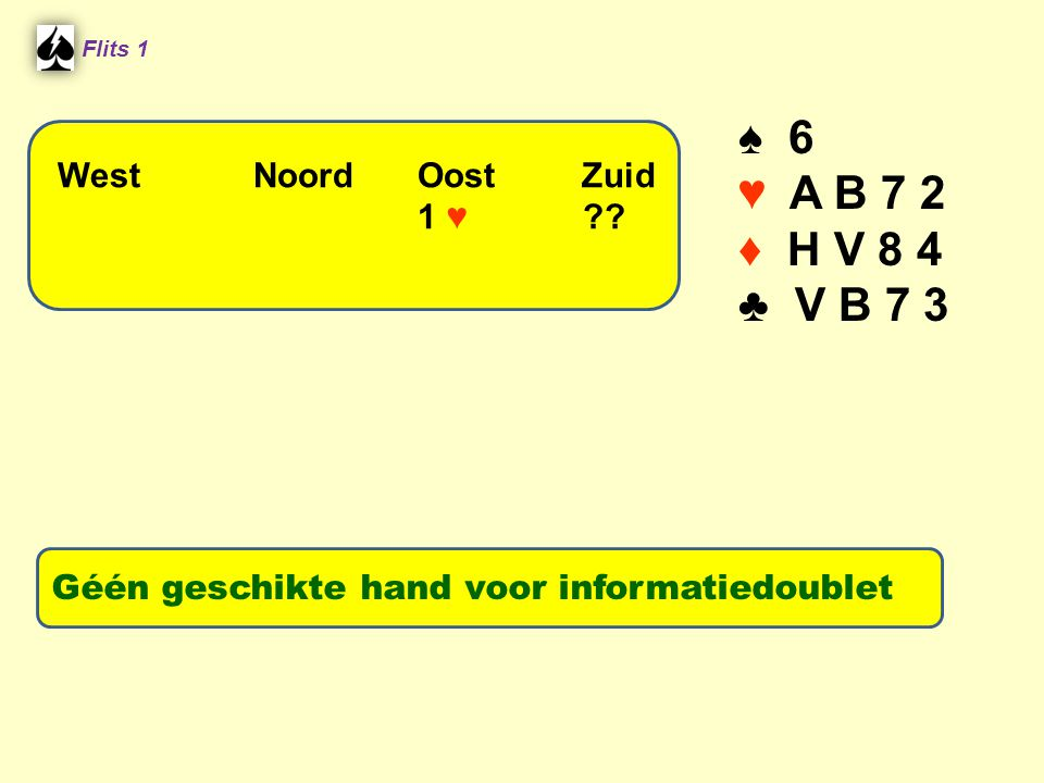 ♠ 6 ♥ A B 7 2 ♦ H V 8 4 ♣ V B 7 3 West Noord Oost Zuid 1 ♥