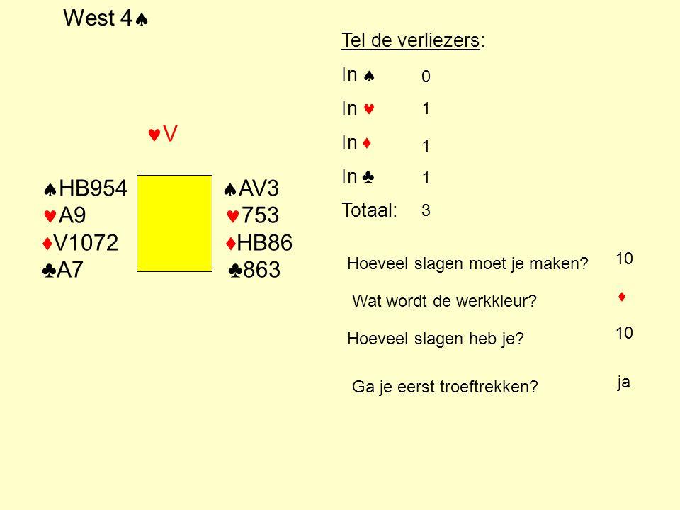 West 4 HB954 AV3 A9 753 ♦V1072 ♦HB86 ♣A7 ♣863 Tel de verliezers: