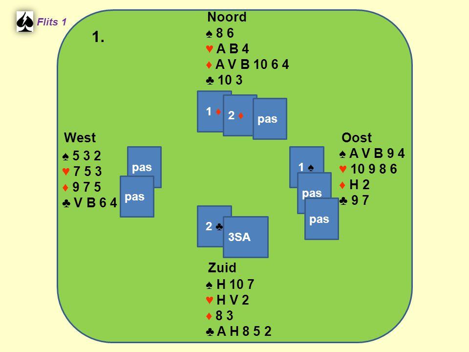 West Noord 1. Zuid ♠ 8 6 ♥ A B 4 ♦ A V B 10 6 4 ♣ 10 3 ♠ A V B 9 4