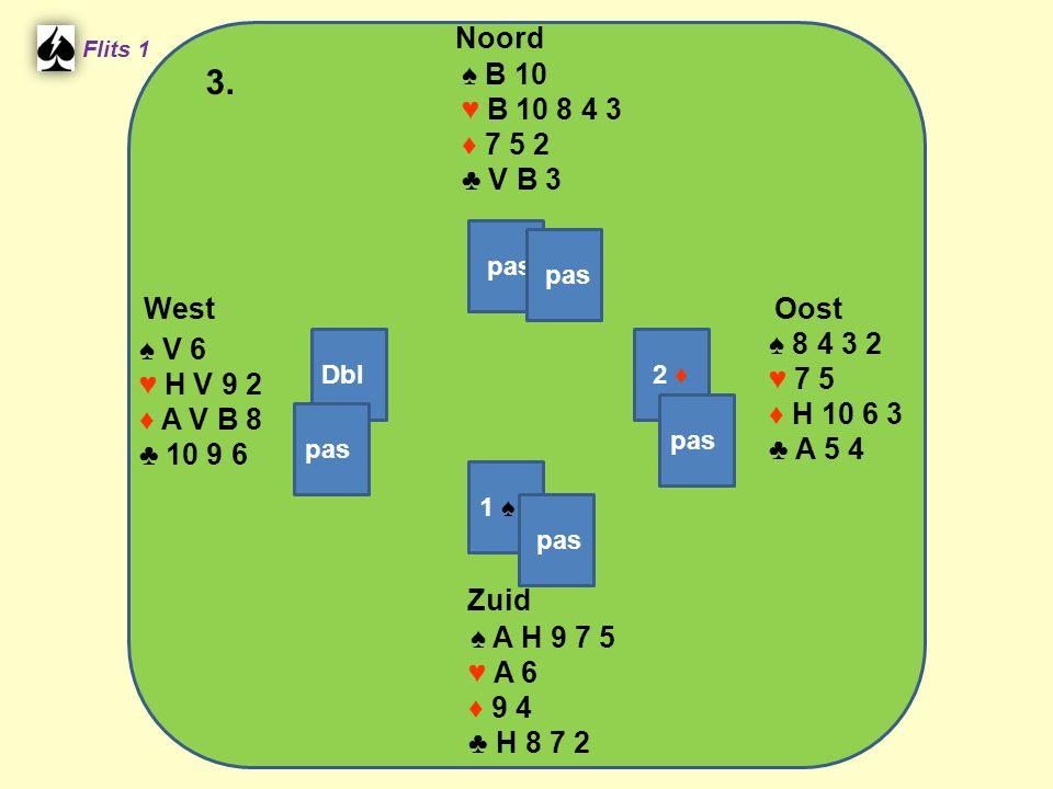 West Noord 3. Zuid ♠ B 10 ♥ B 10 8 4 3 ♦ 7 5 2 ♣ V B 3 ♠ 8 4 3 2 ♠ V 6