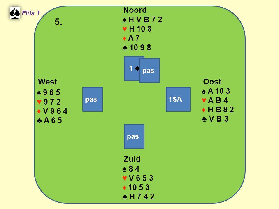 West Noord 5. Zuid ♠ H V B 7 2 ♥ H 10 8 ♦ A 7 ♣ 10 9 8 ♠ A 10 3