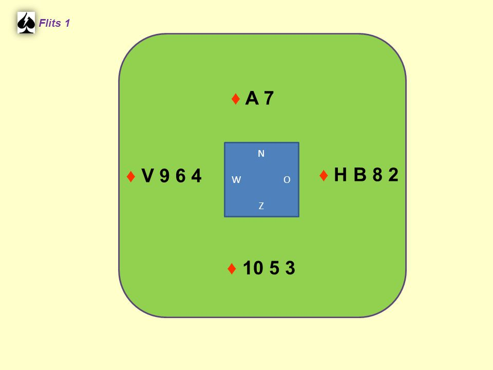 Flits 1 ♦ A 7 N W O Z ♦ V 9 6 4 ♦ H B 8 2 ♦ 10 5 3