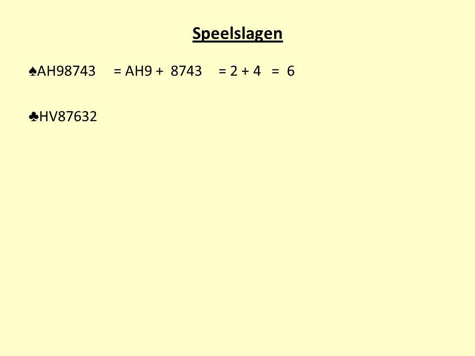 Speelslagen ♠AH98743 = AH9 + 8743 = 2 + 4 = 6 ♣HV87632