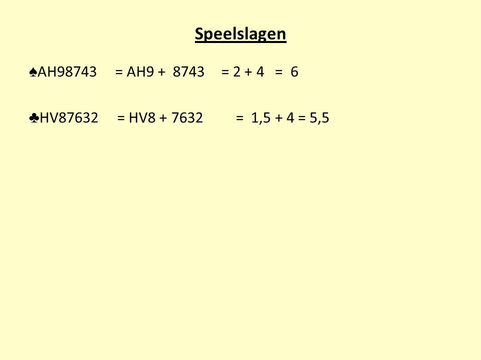 Speelslagen ♠AH98743 = AH9 + 8743 = 2 + 4 = 6