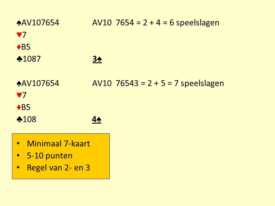 ♠AV107654 AV10 7654 = 2 + 4 = 6 speelslagen ♥7. ♦B5. ♣1087 3♠