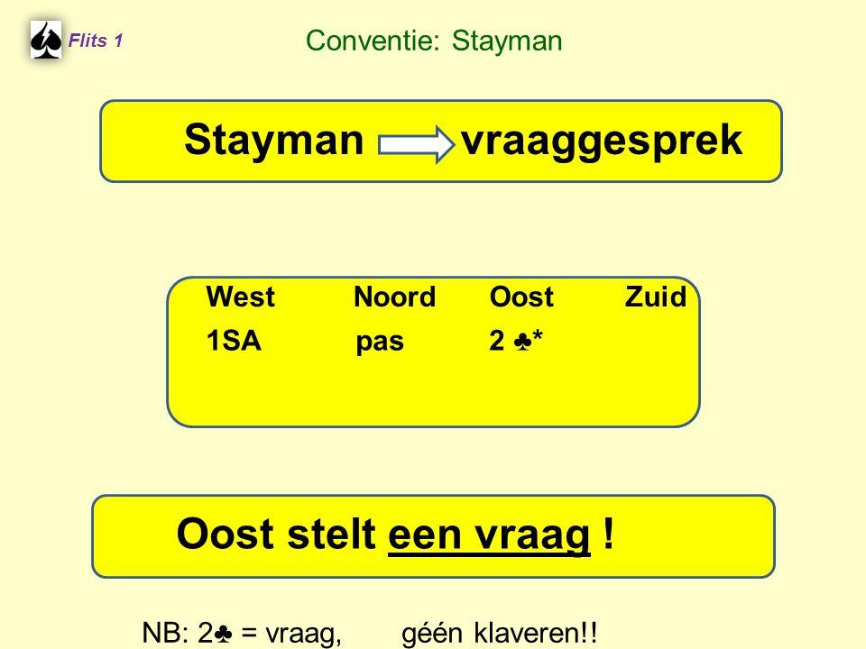 Stayman vraaggesprek Stayman vraaggesprek Oost stelt een vraag !