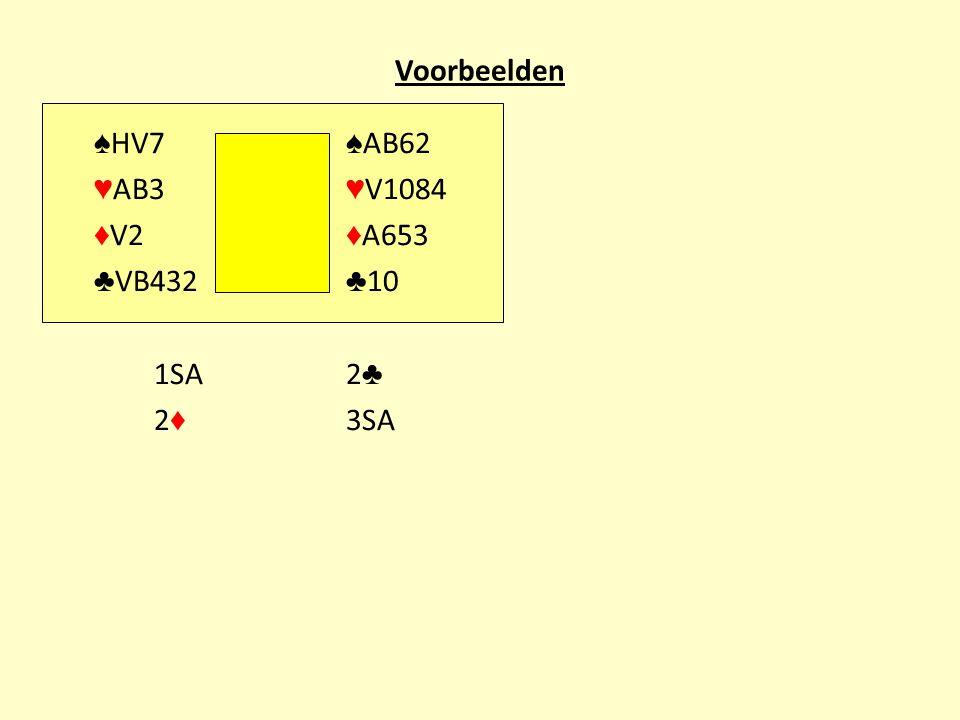 Voorbeelden ♠HV7 ♠AB62 ♥AB3 ♥V1084 ♦V2 ♦A653 ♣VB432 ♣10 1SA 2♣ 2♦ 3SA